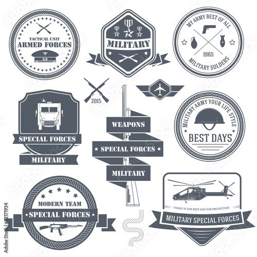 military set label template of emblem element for your product stock image and royalty free. Black Bedroom Furniture Sets. Home Design Ideas