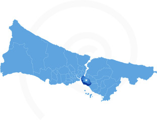 Istanbul Map with administrative districts where Kadikoy is pull