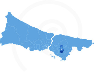 Istanbul Map with administrative districts where Sultanbeyli is