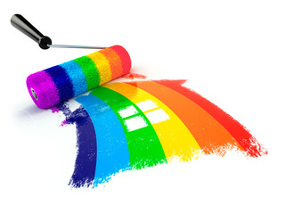 Construcrion concept.Roller brush with sign of house in rainbow