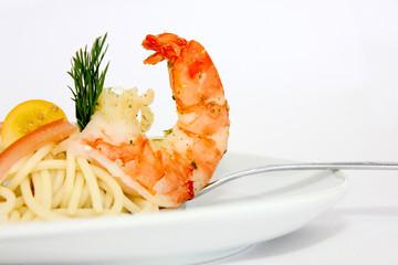Garnele an Spaghetti