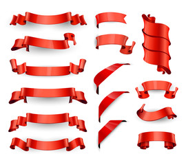 Realistic Red Glossy vector ribbons. Large set.
