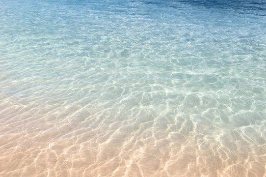 Background of clear natural blue water on a tropical beach