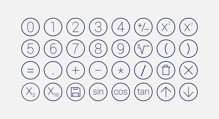 modern mathematics line icon set