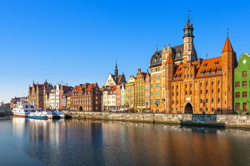 View of the riverside by the Motlawa river in Gdansk, Poland.