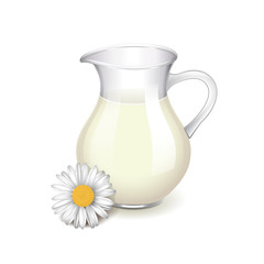 Glass jug with milk and chamomile isolated vector