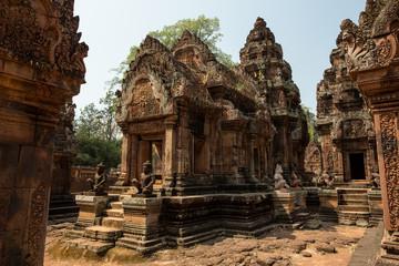 Banteay Srei door, sculptures and tower