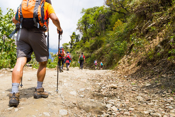 A group of people trekking on dirt road in Nepal Wall mural