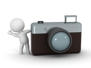 3D Character Waving From Behind Photo Camera