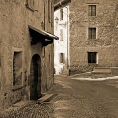 old medieval stone buildings, Bormio, Italian Alps, Italy