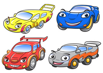 Vector illustration of cute cartoon racing car characters.