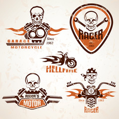Set of vintage motorcycle labels, badges and design elements wit