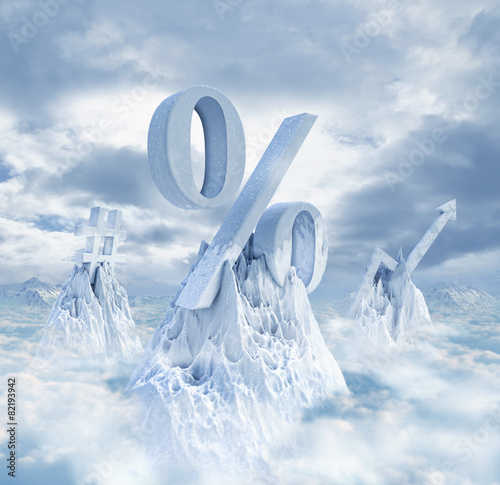 quotsymbols on snowy mountaintopsquot stock photo and royalty