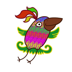 cheerful flying colorful bird