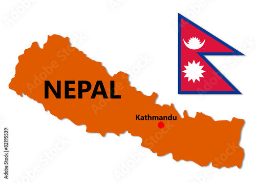 Nepal Map and Flag\