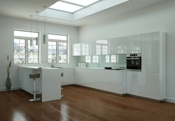 moderne helle Küche im Loft
