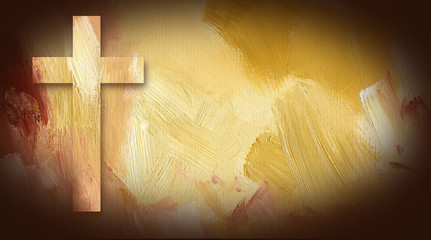 Calvary Cross graphic on painted texture background Wall mural