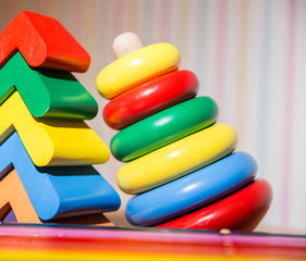 xylophone and a children's toy pyramid