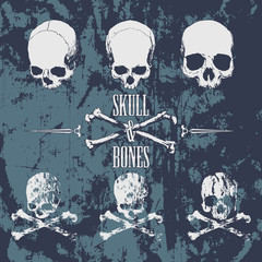 Skulls and cross bones on the grunge background
