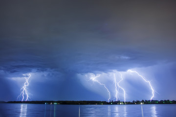 Lightning thunderbolt reflected water