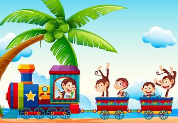 Train and monkeys