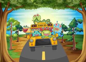 Monster and bus