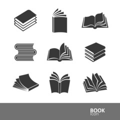 book silhouette icon set,vector illustration