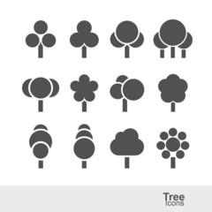 Tree silhouette icons set vector illustration