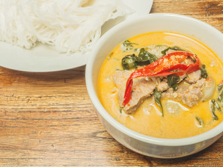 Green beef curry with Thai  vermicelli