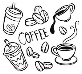 set of coffee doodle