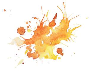 Abstract watercolor aquarelle hand drawn blot colorful yellow