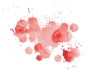 Abstract watercolor aquarelle hand drawn colorful red art paint