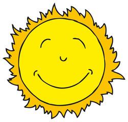 Smiling Sun. Isolated on white background