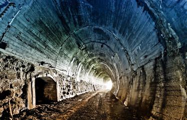 Abandoned railway tunnel in Carpathian mountains