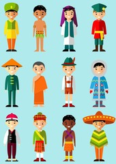 multicultural national children in  traditional costumes