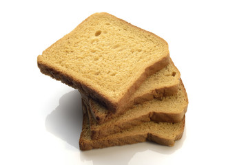 Heap of A Whole Wheat Brown Bread Slices on White Background