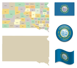 High Detailed Map of South Dakota and Flag Icons