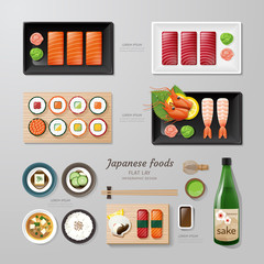 Infographic japanese foods business flat lay idea. Vector illust