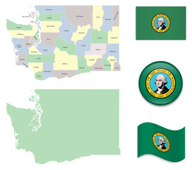 High Detailed Map of Washington With Flag Icons