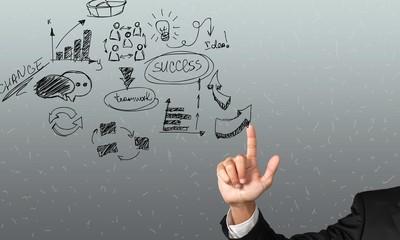 Background. Businessman pressing business communication