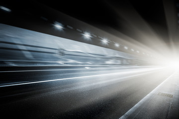speeding car through tunnel