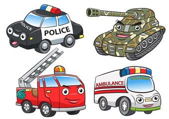 police fire ambulance tank cartoon