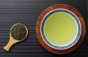 Japanese green tea in porcelain cup