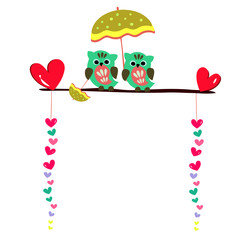 cute owls couple sitting on a branch, valentine card design