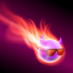 Purple burning ball with horns