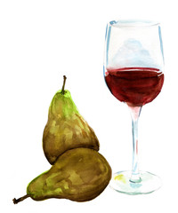 A glass of red wine with two pears on a white background