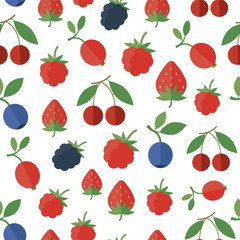 Seamless pattern with berries. Vector background