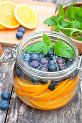 homemade fruit drink with berries oranges and mint