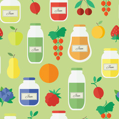 Seamless pattern with jars of jam in flat style
