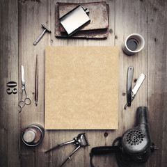 Vintage tools of barber shop with blank kraft canvas